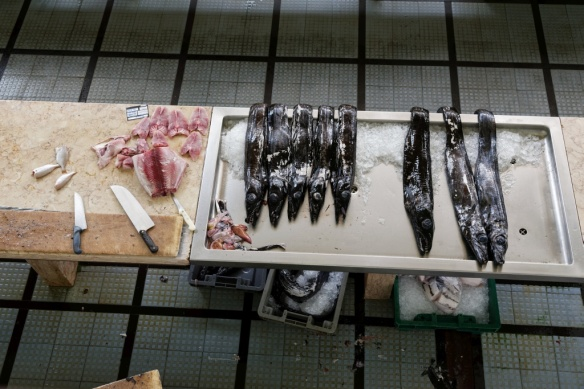 Fresh catch of black scabbard fish at Funchal Market